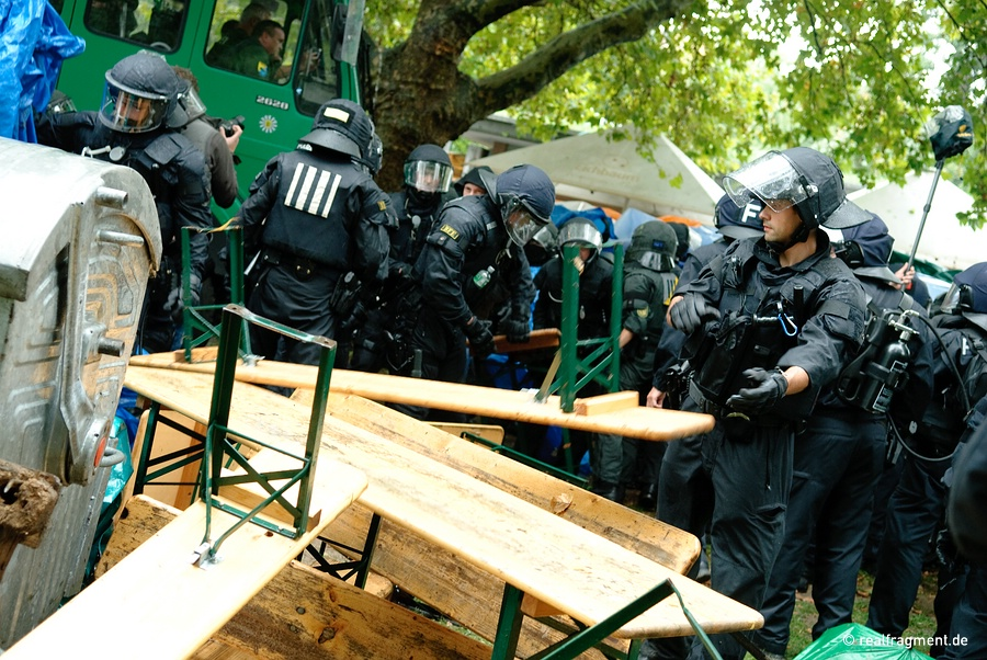 Police forces remove ale-benches